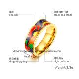 Anello placcato oro d'acciaio unisex dell'acciaio inossidabile dell'anello 18k dello smalto