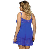 2017 Vente chaude Nouvelle dentelle de fleur bleue Plus Size Sexy Women Lingerie pour les personnes grasses