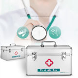 肩ひもが付いている救急処置ボックスをロックする薬の収納箱