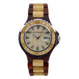 나무로 되는 시계 아날로그 석영 남자를 위한 경량 포도 수확 손목 시계