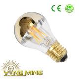 Lámpara estándar Sillver/vidrio superior de oro E26/E27/B22 de A19/A60 LED del espejo que amortigua el bulbo