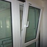 Guichet en verre ouvert de double d'inclinaison et de spire des prix de vente directe d'usine de Foshan UPVC avec des abat-jour