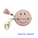 Миниое круглое карманн монетки стороны усмешки круга с ключевым кольцом (16NW027A)