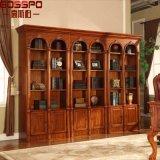 Угол Bookcase твердой древесины живущий комнаты французский (GSP18-014)