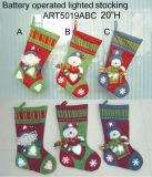 Iluminando Santa & Snowman Photo Frame Stocking-3asst