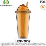 22oz는 도매한다 두 배 벽 아이스크림 컵, 밀짚 (HDP-3032)를 가진 주문을 받아서 만들어진 플라스틱 Tumber를