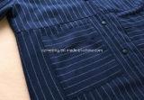 青く厚い女性の綿ワイシャツ