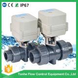 Valvola a sfera attuata elettrica del PVC di 2 modi 1 1/2 ''