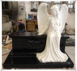 Monumentos de mármore brancos de assento cinzelados dos memoriais das lápides das lápides do banco do anjo