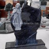 Bahama 동정녀 마리아 조각품을%s 가진 파란 화강암 묘비