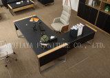 現代家具の木の革事務机(V30A)