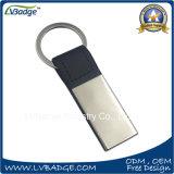 Metal Keychain de Keychain del cuero del regalo de la promoción con insignia de encargo