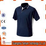 T-shirts bleu-foncé de polo de coton de la qualité des hommes faits sur commande