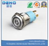 Interruptor de pulsador momentáneo impermeable encendido LED azul del metal del claxon