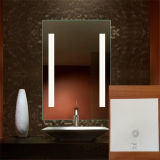 Specchio di alluminio della stanza da bagno illuminato LED del Governo con la mensola di vetro