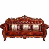 Sofá de cuero de madera para los conjuntos de los muebles de la sala de estar