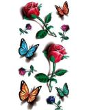 etiquetas engomadas temporales impermeables del tatuaje de Rose de la flor de mariposa 3D