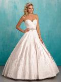 Fora-Ombro da alta qualidade que perla o vestido de casamento do plissado do vestido nupcial
