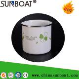 Tasse d'acier du carbone d'émail de porcelaine avec le RIM de roulement d'acier inoxydable