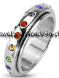 Bague à doigts à bijoux en pierres multicolores