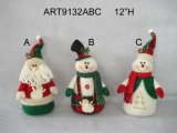 """12 """" H Santa y muñeco de nieve, decoración de la Asst-Navidad 3"""