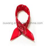 Algodão 100% relativo à promoção vermelho do Bandana do quadrado ao ar livre do lenço