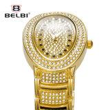 Do relógio luxuoso do diamante da forma de Belbi relógio cheio oval impermeável de quartzo da série da estrela