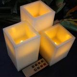 De Was van het ivoor & Amber Gele Batterij In werking gestelde Kaarsen Zonder vlammen met Ver