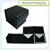 Rectángulo de empaquetado de la cartulina del regalo negro del papel