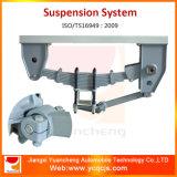 Sistema de suspensão do reboque da mola de lâmina de três eixos