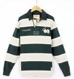 2017 van de Katoenen van mensen Kledingstukken van de T-shirts van de Overhemden van het Polo van de Kraag van het Rugby Manier van de Streep de Lange Koker Geweven Zware (S8001)