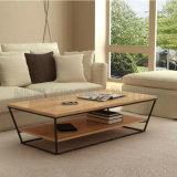 スペース節約のホーム家具によって曲げられる木製のガラスコーヒーテーブル(NK-CTB017-1)