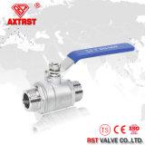 robinet à tournant sphérique de l'acier inoxydable 2PC avec le traitement Ss316/Ss304 de blocage