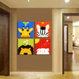 L'arte moderna della parete delle 4 parti ha stampato la maschera di arte incorniciata decorazione della stanza della pittura del fumetto della pittura verniciata sulla decorazione Mc-252 della casa della tela di canapa