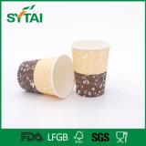 Wegwerf-PET 8oz überzogene einzelne Wand-Papier-Kaffeetasse mit Kappe