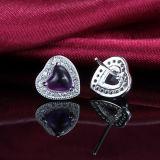 925 pendientes Amethyst en forma de corazón elegantes del espárrago de la manera de la plata esterlina de las mujeres