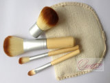Trucco Products 4PCS Bamboo Make up Brush Synthetic Cosmetic Brush Set
