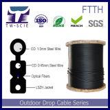 Cable de fibra óptica de doble núcleo de auto-soporte FTTH