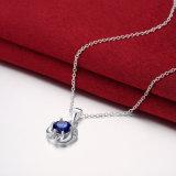 De eenvoudige Ronde Blauwe Purpere Witte Rode Manier Desgn van de Halsband van de Tegenhanger Zircon Zilveren