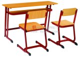 学校Furniture Wooden Double Student DeskおよびChairs