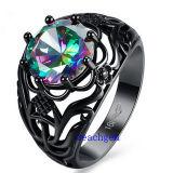 De zwarte Geplateerde Ringen van de Juwelen van CZ van de Mysticus (R0841)