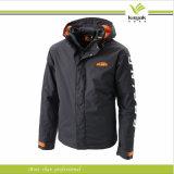 Изготовленный на заказ Mens Plain Black Windbreaker Jacket с Hood (KY-J011)