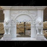 Cheminée blanche Mfp-349 de Carrare de cheminée de cheminée en pierre de cheminée de marbre de granit