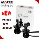 고성능 G6 차 Philips LED 헤드라이트 Headlamp 전구 H4 96W 9600lm