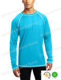 Azul de marinha da camisa de Lycra Rashguard das luvas de Raglan dos esportes dos homens