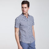 人の格子縞の100%年の綿の立場の首の不足分の袖のワイシャツ
