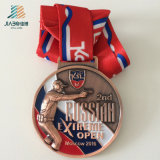 Trophées et médaille faits sur commande en alliage de zinc de police en métal de la Russie de qualité avec la bande
