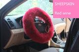 Tampa enchida da direção do carro da pele de carneiro da pele na cor-de-rosa para senhoras