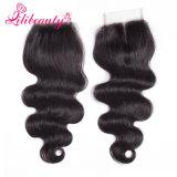 4*4 3 объемной волны девственницы человеческих волос части закрытия шнурка