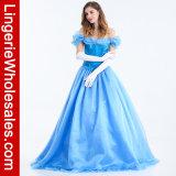 Traje do vestido extravagante da princesa Azul do conto de fadas das mulheres
